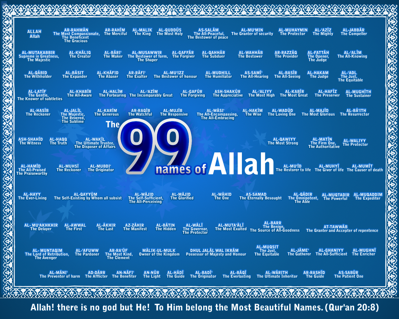 THE LIST OF 99 NAMES ALLAH